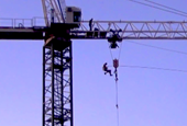 VIDEO: Man gets jail time for bungee jumping 140 feet from crane on Wisconsin construction site