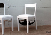White and black crochet chairs