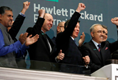 The CEO of Hewlett Packard Enterprise celebrated his one-year anniversary with a 'beat and raise' ea