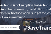 Transit agencies, riders, unions, and members of Congress rally to save transit