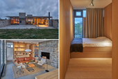 Rough Limestone Walls Give This Modern Home A Rustic Feeling